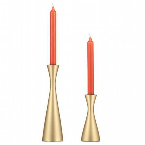 Wooden Candleholder - 2 Sizes - Gold